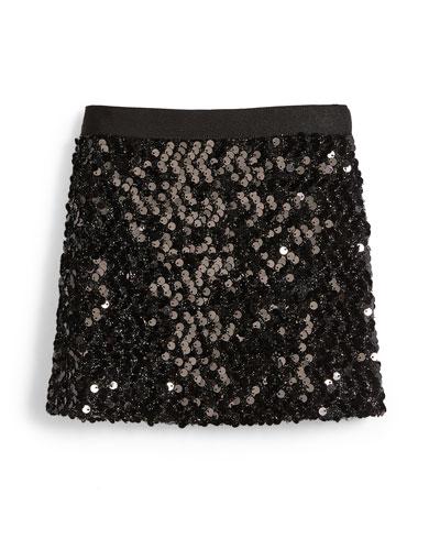 Sequin Mini Skirt, Black, Size 4-7