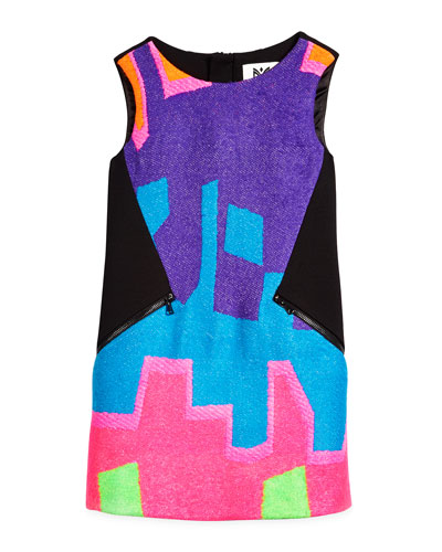 Neon Puzzle Shift Dress, Black/Multicolor, Size 4-7