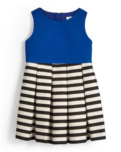 Pleated A-Line Dress w/ Stripes, Cobalt, Size 4-7