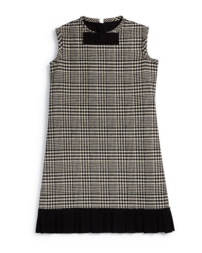 Prince de Galles Plaid Shift Dress, Black/White, Size 8-12