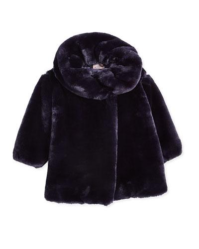 Asymmetric-Front Faux-Fur Coat, Amethyst, Size 8-12