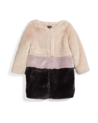 Faux-Fur Colorblock Coat, Pearl, Size 4-6