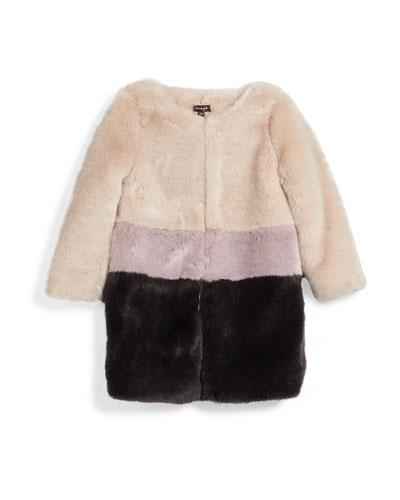 Faux-Fur Colorblock Coat, Pearl, Size 4-6