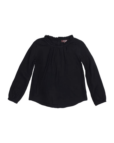 Carol Long-Sleeve Woven Blouse, Black, Size 4-6