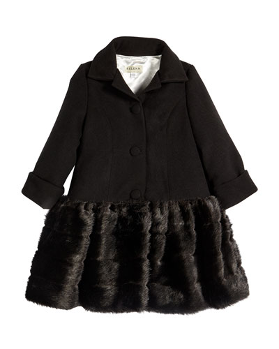 Faux-Fur-Trim Button-Front Peacoat, Black, Size 7-14