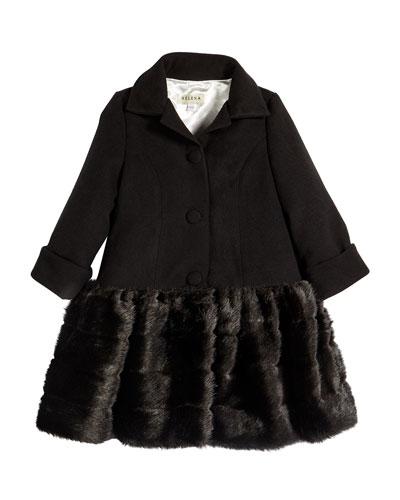 Faux-Fur-Trim Button-Front Peacoat, Black, Size 18M-3