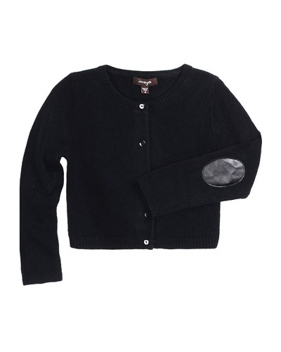 Drew Button-Front Cardigan w/ Elbow Patches, Black, Size 4-6