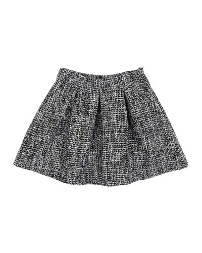 Heather Pleated Skirt, Black/White, Size 4-6