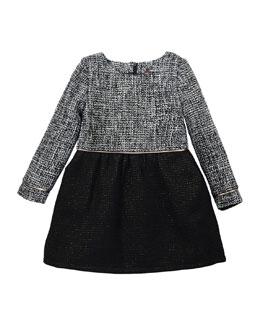 Sophia Long-Sleeve Tweed A-Line Dress, Black/White, Size 4-6