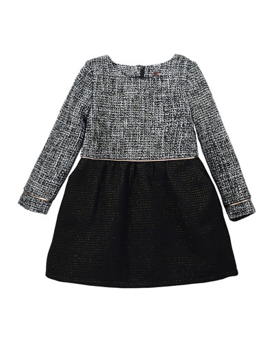 Sophia Long-Sleeve Tweed A-Line Dress, Black/White, Size 4-6