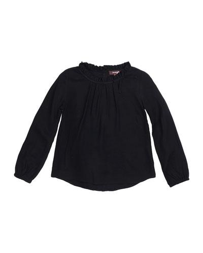 Carol Long-Sleeve Woven Blouse, Black, Size 4-6