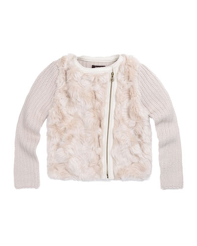 Faux-Fur-Trim Knit Jacket, Size 8-14