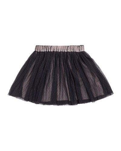 Mesh A-Line Skirt, Charcoal, Size 8-14
