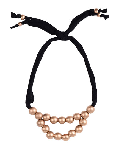 Girls' Wooden-Bead Necklace, Black/Gold