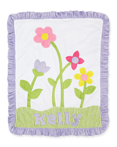 Petal Pusher Plush Blanket, White/Lilac