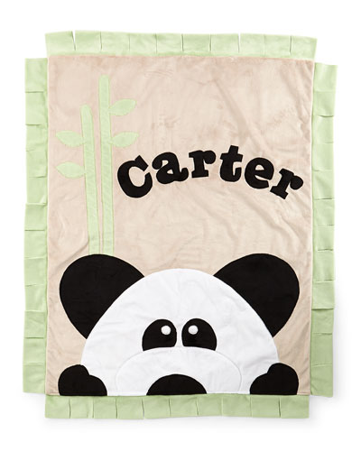 Plush Peek-A-Boo Panda Blanket, Green/Latte