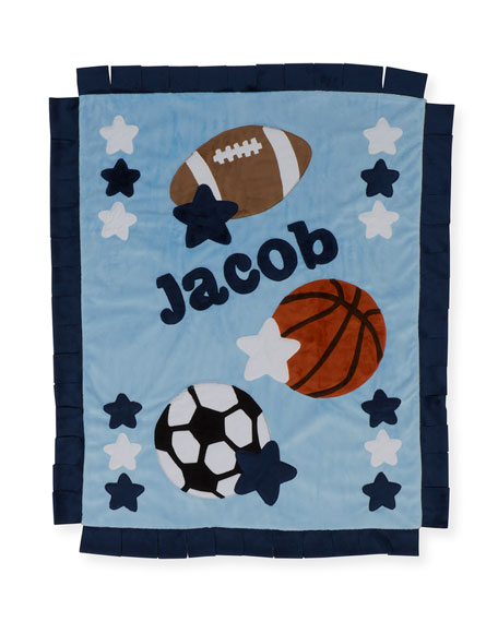 Boogie Baby Good Sport Plush Blanket, Gray/Blue