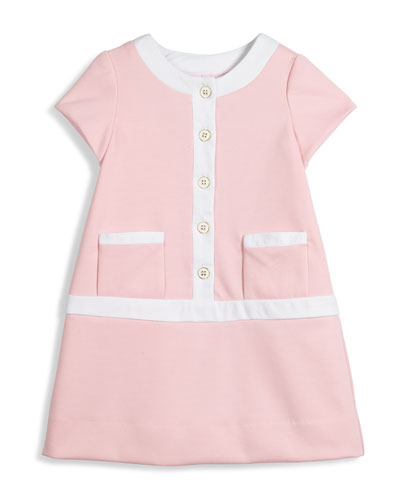 Cap-Sleeve Contrast-Trim Shift Dress, Pink, Size 4-6