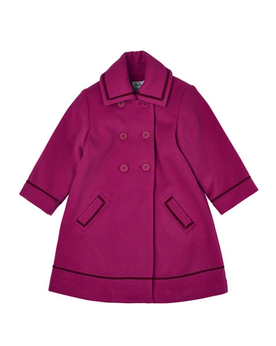 Double-Breasted Wool-Blend Peacoat, Fuchsia, Size 4-6