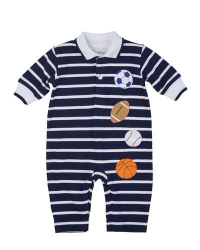 Striped Pique Sports Coverall, Navy/White, Size 6-18 Months