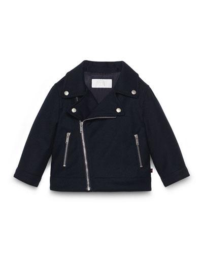 Asymmetric Zip-Front Biker Jacket, Navy, Size 18-36 Months