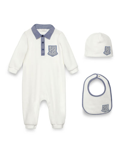 Crest-Trim Coverall, Bib & Baby Hat, White/Blue, Size 0-18 Months