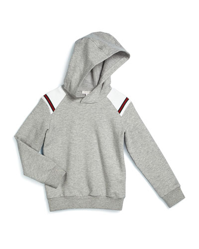 Hooded Terry-Lined Sweatshirt, Light Gray, Size 12-36 Months