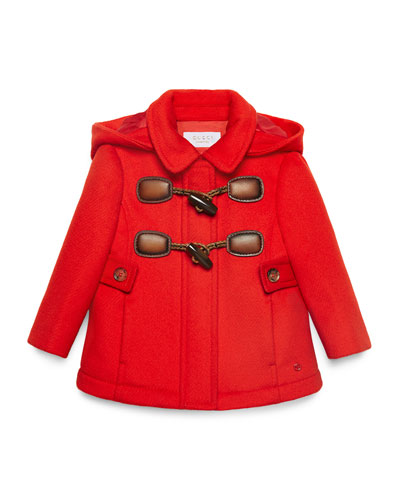 Montgomery Hooded Wool-Blend Duffle Coat, Shock Flame, Size 12-36 Months