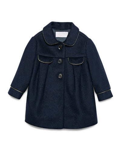 Contrast-Trim Wool-Blend Peacoat, Navy, Size 9-36 Months