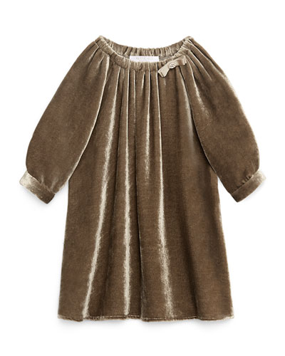 Long-Sleeve Silk-Velvet Dress, Hazel, Size 6-36 Months