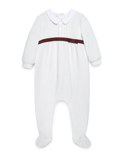 Long-Sleeve Web-Trim Footie Pajamas, White, Size 0-18 Months