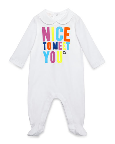 Nice to Meet You Cotton Footie Pajamas, White, Size 0-12 Months