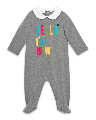 Hello I'm New Collared Footie Pajamas, Medium Gray, Size 0-18 Months