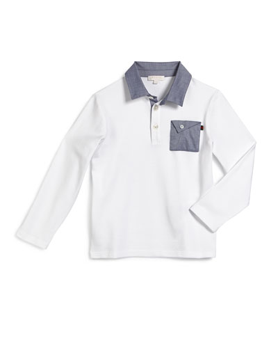 Long-Sleeve Chambray-Trim Polo Shirt, White, Size 4-12