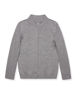 Knit Long-Sleeve Zip-Front Jacket, Gray, Size 4-12