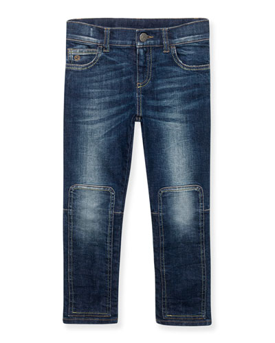 Skinny Patchwork-Trim Faded Jeans, Orbit, Size 6-12