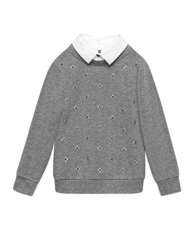 Rhinestone-Trim Illusion Sweatshirt, Gray, Size 4-12