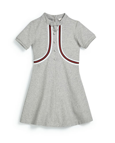 Short-Sleeve Pique Web-Trim Dress, Light Gray, Size 4-12