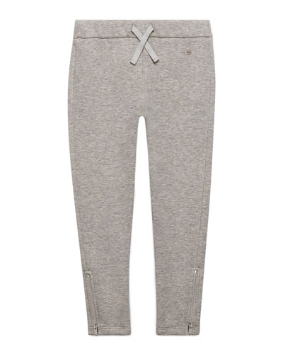 Slub-Knit Track Pants, Light Gray, Size 4-12