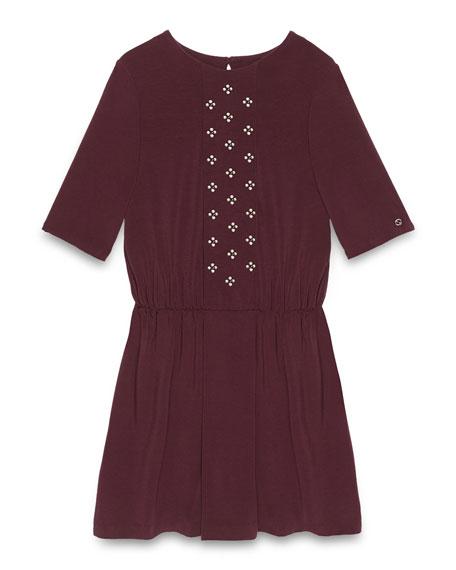 Gucci Short-Sleeve Floral-Rhinestone Dress, Amethyst, Size 6-12