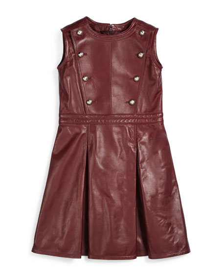 Gucci Sleeveless Pleated Leather Dress, Red, Size 6-12