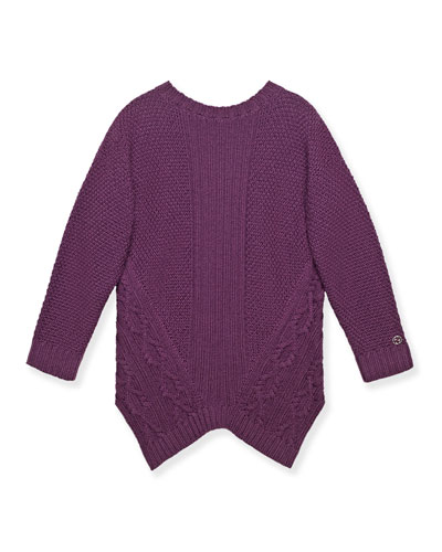 Asymmetric Cable-Knit Wool Pullover Sweater, Purple, Size 8-12
