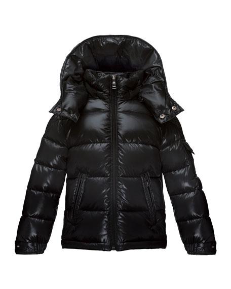 Moncler Maya Matte Zip-Front Puffer Coat, Black, Size