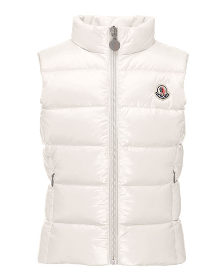 Moncler Ghany Quilted Down Vest, Cream, Size 4-6