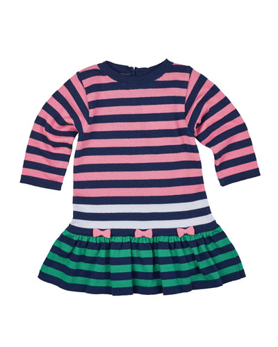 Long-Sleeve Striped Fit-and-Flare Sweaterdress, Navy/Multicolor, Size 6-18 Months