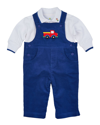 Corduroy Overalls & Long-Sleeve Pique Polo Shirt, Royal/White, Size 6-18 Months
