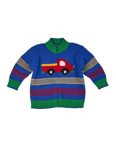 Cotton Truck-Intarsia Zip-Front Sweater, Royal, Size 6-18 Months