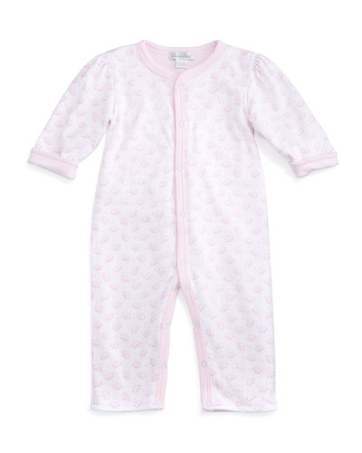 Baby Elephants Reversible Pima Coverall, Pink/White, Size 0-9 Months