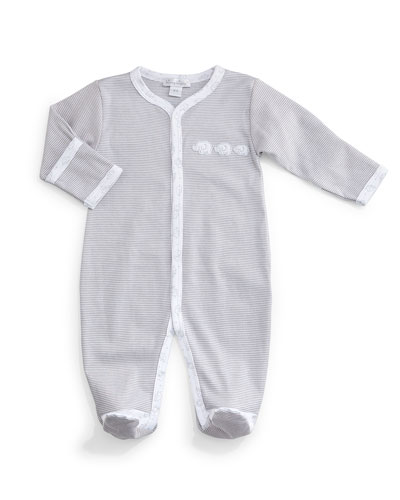 Baby Elephants Pima Footie Pajamas, Gray/White, Size Newborn-9 Months