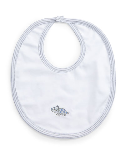 Dynamic Dinos Reversible Pima Bib, White/Blue